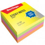 """Самоклеящийся блок Berlingo """"Ultra Sticky"""", 75*75мм, 320л, 4 неоновых цвета"""