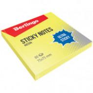 """Самоклеящийся блок Berlingo """"Ultra Sticky"""", 75*75мм, 80л, желтый неон"""