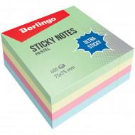 """Самоклеящийся блок Berlingo """"Ultra Sticky"""", 75*75мм, 400л, 4 пастельных цвета"""