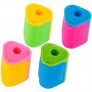 Точилка пластиковая ArtSpace, 1 отверстие, контейнер треуг, ассорти