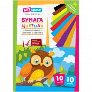 """Цветная бумага A4, ArtSpace """"Волшебная"""", 10 листов, 10 цветов, газетная, """"Филин"""""""
