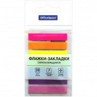 Флажки-закладки OfficeSpace, 45*8мм, 20л*7 неоновых цветов, европодвес